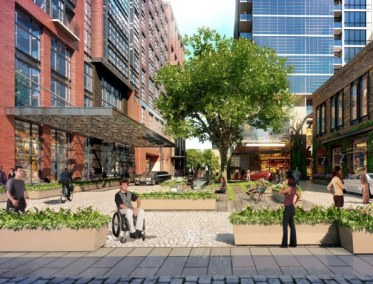 A piazza adjacent to Wharf Street will allow cars to load passengers, but not provide through access. Rendering: Perkins Eastman
