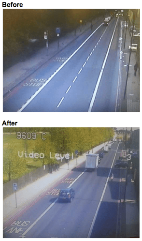On Seven Sisters Road, average speeds fell about 7 miles per hour after centerlines were removed. Image: Transport for London