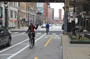 Goodman also pointed to the Dearborn Street bike lane in Chicago as a model. Photo: ##http://gridchicago.com/2012/dearborn-streets-celebrity-status-skyrockets/##Grid Chicago##