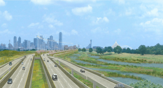 Every river needs a nine-lane highway running alongside it to enhance its scenic qualities, don't you think? Image from a U.S. Army Corps of Engineers briefing presented to the Dallas City Council last August
