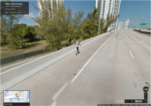 Even when it was technically illegal, people often walked and biked on the bridges. Even Google Street View caught them at it.