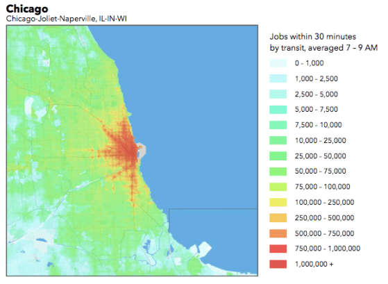 Chicago's job accessibility by transit, mapped. Image: University of Minnesota
