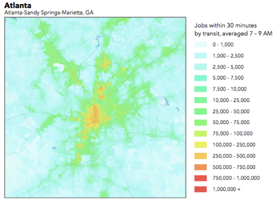 This chart shows the number of jobs accessible by transit in Atlanta. Red indicates better accessibility by transit. Image: University of Minnesota