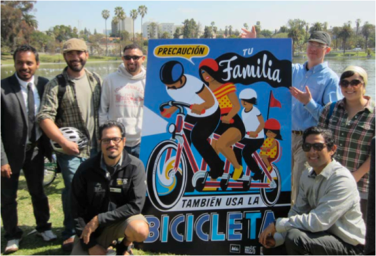 In Los Angeles, Multicultural Communities for Mobility helped Latino community members learn both bike mechanics and bike advocacy. A PSA campaign heightened the visibility of cyclists of color within their own community. Photo: Multicultural Communities for Mobility