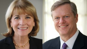Democrat Martha Coakley, left, and Republican Charlie Baker, right, are running for governor of Massachusetts.