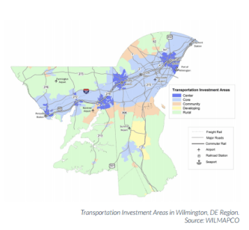 The Wilmington, Delaware, region is concentrated development in these key areas. Image: WILMAPCO via T4A