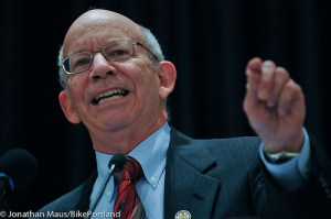 Before even starting his new job as Ranking Member on the House Transportation Committee, Rep. Peter DeFazio is going to bat for bike and pedestrian safety. Photo: ##http://bikeportland.org/2012/03/27/rep-defazio-takes-us-inside-the-transportation-fight-and-the-republican-psyche-69482##Jonathan Maus/Bike Portland##