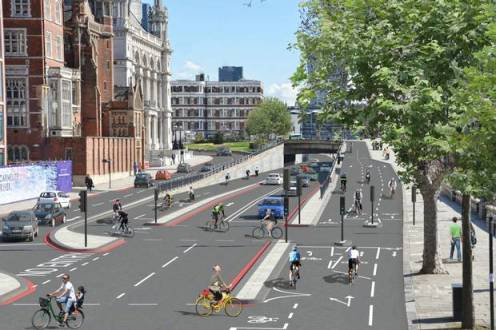 "London's ""crossrail for bikes"" will be the longest protected bike lane in Europe. Image: London Evening Standard"