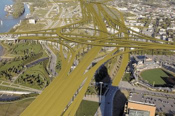 A rendering of an interchange that will be constructed near downtown Louisville as part of the $2.5 billion Ohio River Bridges Project. Image: 8664