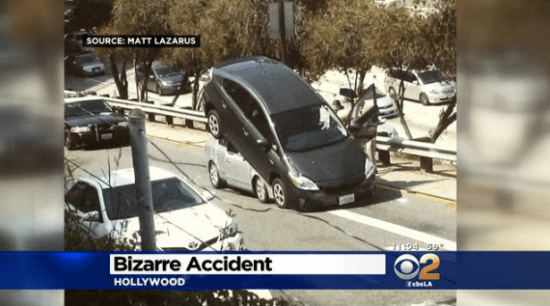 "A witness described seeing the driver of this Prius back up intentional over the other car, but CBS LA improperly persisted in referring to this as an ""accident."" Image: CBS LA"