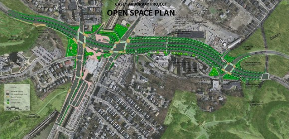 The image shows plans for the at-grade street that will replace the overpass. Image: Arborwaymatters via MassDOT