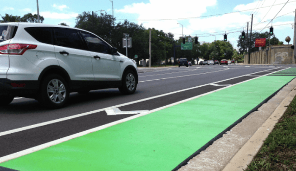 Tampa recently added a buffered green bike lane. Photo: Tampa Tribune