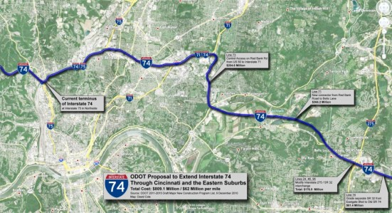 The relocation of State Route 32 would have set the stage for an interstate to the sea. Image: ##http://www.urbancincy.com/2011/01/809m-identified-for-long-planned-i-74-extension-through-hamilton-county/##Urban Cincy##