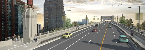 City officials want to add another bike lane to the Burrard Bridge. Image: Vancouver