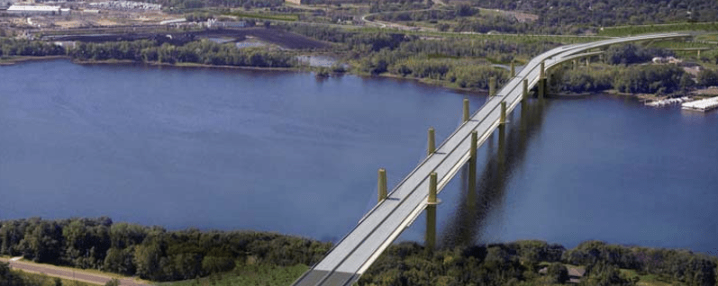 """The cost to construct this bridge ($600 million) is more than the estimated $500 million it would cost to bring Minnesota's 1,191 """"structurally deficient"""" bridges into a state of good repair. Guess which the state is moving ahead with. Image: Minnesota DOT"""
