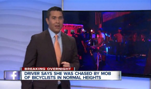 """The """"mob"""" was actually a group of people on bikestrying to flag down a motoristwho had hit one of their friends and drivenoff, dragging his bike.Image: <a href=""""http://www.10news.com/news/driver-bicyclists-tussle-in-normal-heights"""" target=""""_blank"""">KGTV San Diego</a>"""