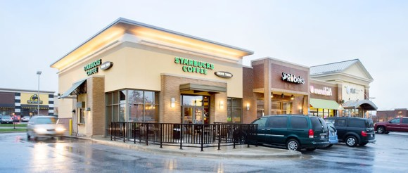 """These """"liner"""" buildings outside a big box store development in Ohio make the streetscape more walkable. Photo; Jacobs Real Estate"""