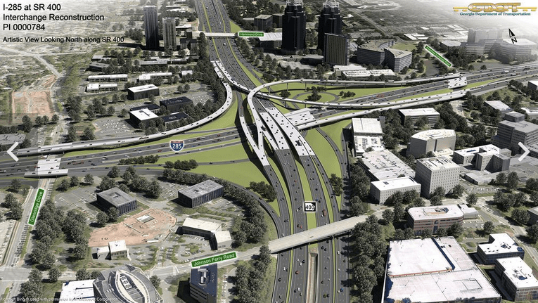 """The $1.1 billion expansion of SR 400 and I-285 in Atlanta was able to escape a larger environmental review process because of the finding it would have """"no significant [environmental] impact."""" Image: GDOT"""