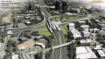 "The $1.1 billion expansion of SR 400 and I-285 in Atlanta was able to escape a larger environmental review process because of the finding it would have ""no significant [environmental] impact."" Image: GDOT"