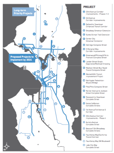 This map shows all the projects planned as part of Ed Murray's 10-year Move Seattle Plan. Image: Seattle. Click to enlarge