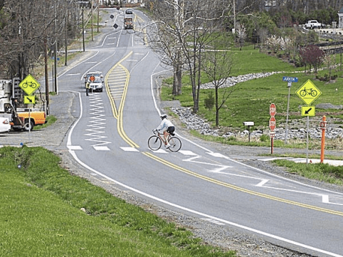 This photo shows another style of zig zag pavement marking tested in Virginia. Photo: VDOT