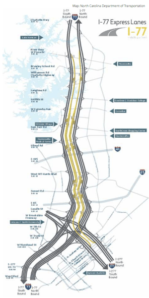 North Carolina's I-77 Express Lanes. Image: NCDOT