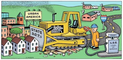 FHWA is trying to encourage states and localities to move away from using Level of Service. Cartoon by Andy Singer, via PPS.