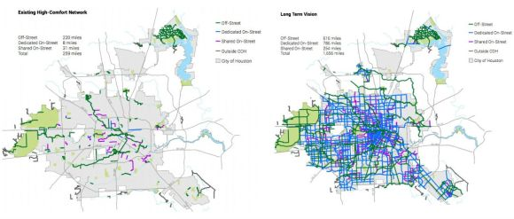 "Houston's new bike plan proposes to take the city's ""low-stress"" network from what you see on the right in the long term, to what you see on the left. Source: Houston Bike Plan"