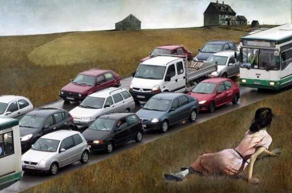 "Minnesota activists calling themselves Minnesota Citizens for Roads, Asphalt and Parking (MinnCRAP) updated American painter Andrew Wyath's famous ""Christina's World"" to illustrate the effects of car culture on the natural world."