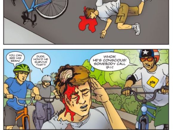 This comic book was produced by the Phoenix Street Transportation Department to warn young children about the dangers of not wearing a helmet. Retrieved from the Arizona Republic