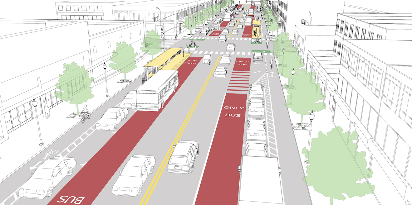 This template shows how transit could be prioritized on a wide suburban-style arterial. Image: NACTO