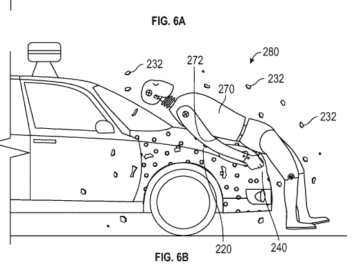 Google engineers' newest concept for pedestrians would glue them to the front of cars. Image: U.S. Patent Office