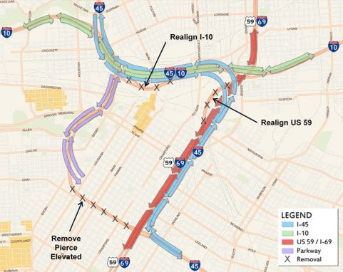 TxDOT's $7 billion proposal for downtown Houston highways is not terrible, say advocates, but it could be better. Image: TxDOT via Swamplot