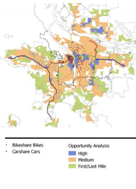 Urban areas with low car-ownership rates and strong transit are ideal for car and bike sharing. But a SUMC study found communities of color were being left out. Map: Shared Use Mobility Center