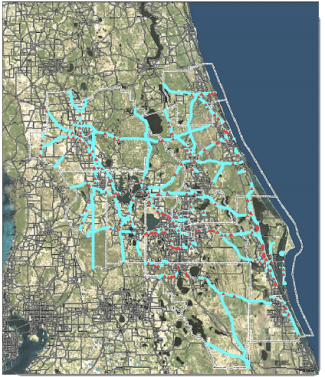 This map, produced by the Florida Department of Transportation, overlays pedestrian-vehicle crash locations with gaps in the sidewalk network.