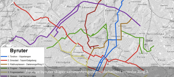 This City of Oslo map shows the locations of the proposed cycleways.