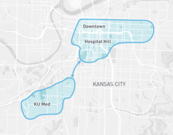 ansas City is using the private vanpool service Bridj to link two neighborhoods with weak transit connections. Image: Bridj