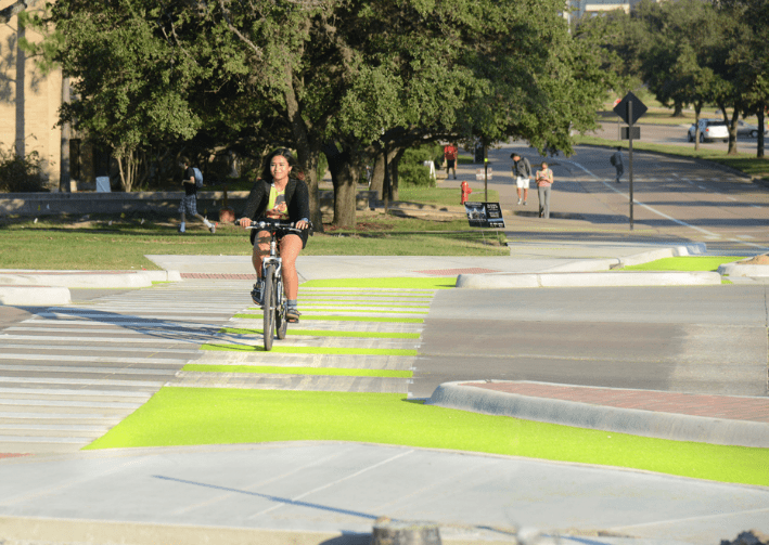"Officials from the Texas Transportation Institute built this ""Dutch-style"" unsignalized intersection with solar power-generating bike lanes in College Station, Texas. Photo: TTI"