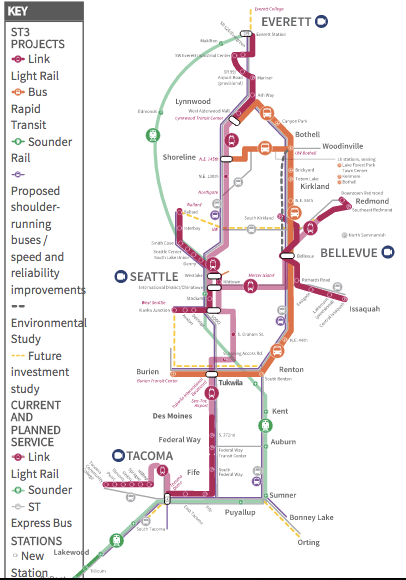 """Seattle's """"ST3"""" plan would add 62 miles of grade-separated light rail. Map: SoundTransit3"""