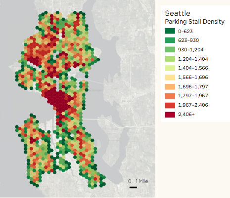 The big red glob of parking is downtown Seattle.