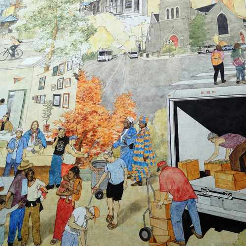 The writer's friend Warren in pictured in this West Philadelphia mural, cleaning the street, wearing and orange cap. Image: Transport Providence