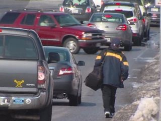 When walking in the street seems like a better option that trudging through unshoveled sidewalks. Photo: ABC 2
