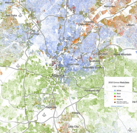 This racial dot map shows how segregation operates in Atlanta. Transit development has reinforced this pattern, experts say. Image: ATL Urbanist