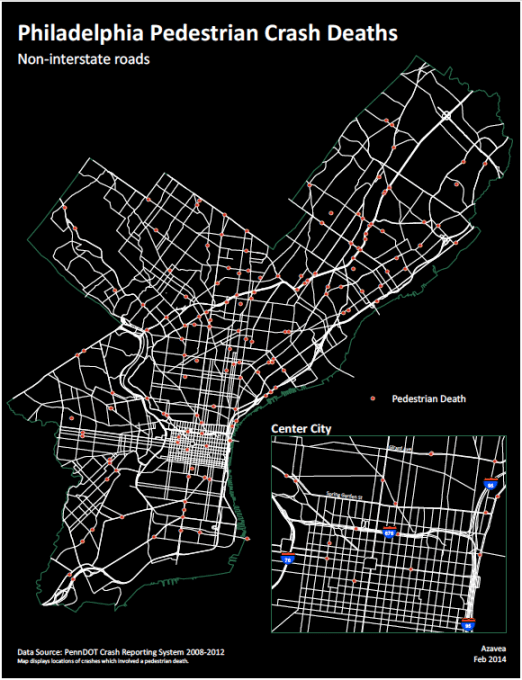 Philadelphia's pedestrian fatalities mapped. Image: This Old City.