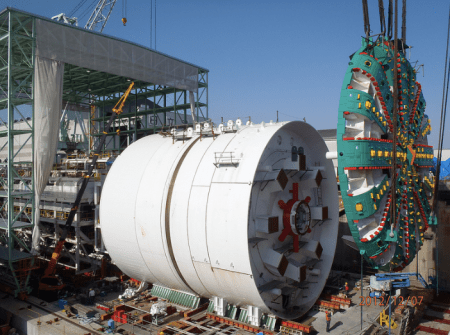 """""""Bertha,"""" the digging machine that was to help build a buried highway in Seattle is broken down and might never get running. Photo: Washington State Department of Transportation"""