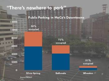 Montgomery County, Maryland's downtowns have too much parking. Image: Dan Reed