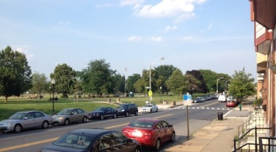 Patterson Park in Baltimore is surrounded by urban streets. Photo: GGWash
