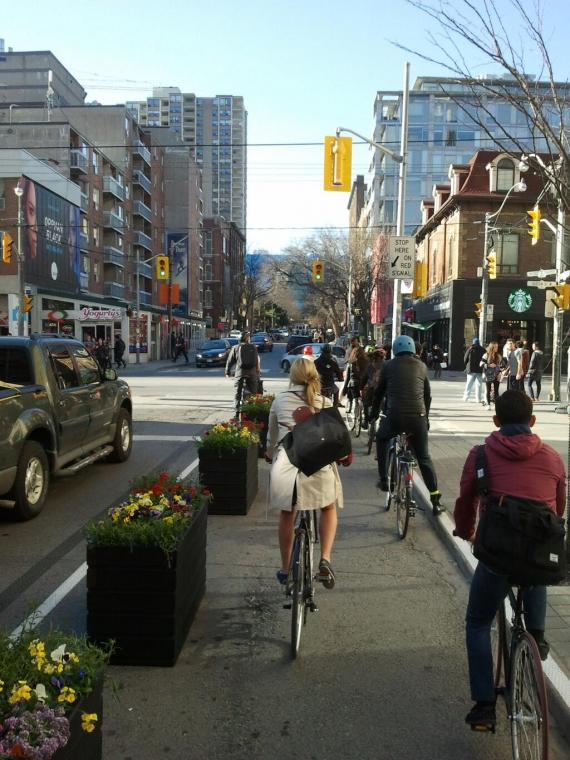 Toronto officials accidentally created this protected bike lane. The area is supposed to be a pedestrian plaza. Image: I Bike TO