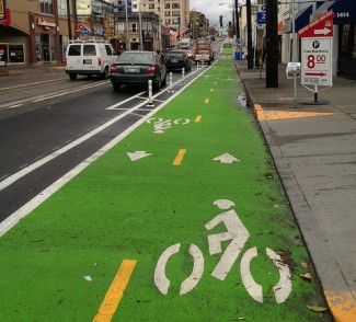 Houston's protected bike lane should look a lot like this one from Seattle. Photo: Seattle DOT, via Flickr
