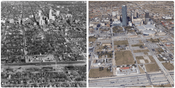 """Before and after shots of Oklahoma City's """"Core to Shore"""" area. Image: The Oklahoman and Google Earth, via Dustin Akers."""
